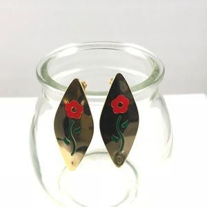 Vintage Gold Tone Floral Pin Back Earrings